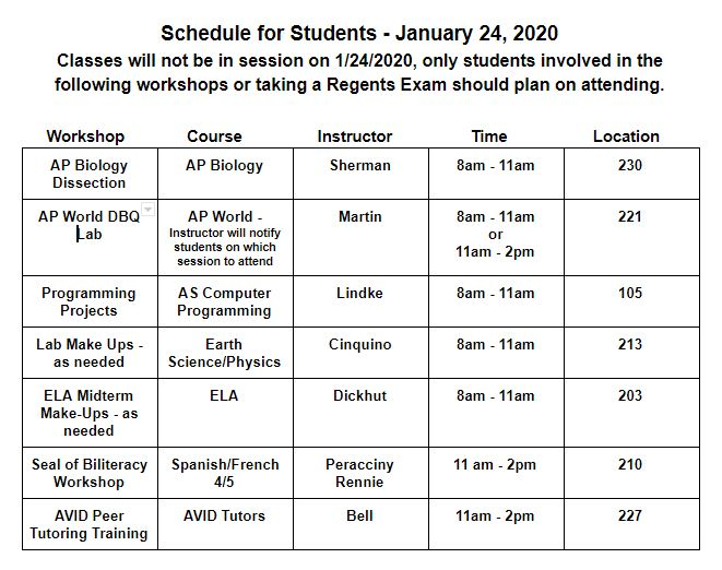 January 24, 2020 Workshop Schedule